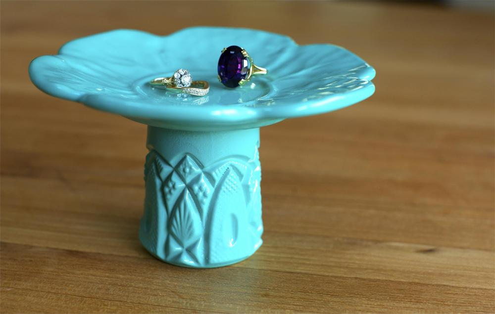Tiffany Blue Ring Pedestal / Jewelry Stand / Cupcake Stand / Candy Dish